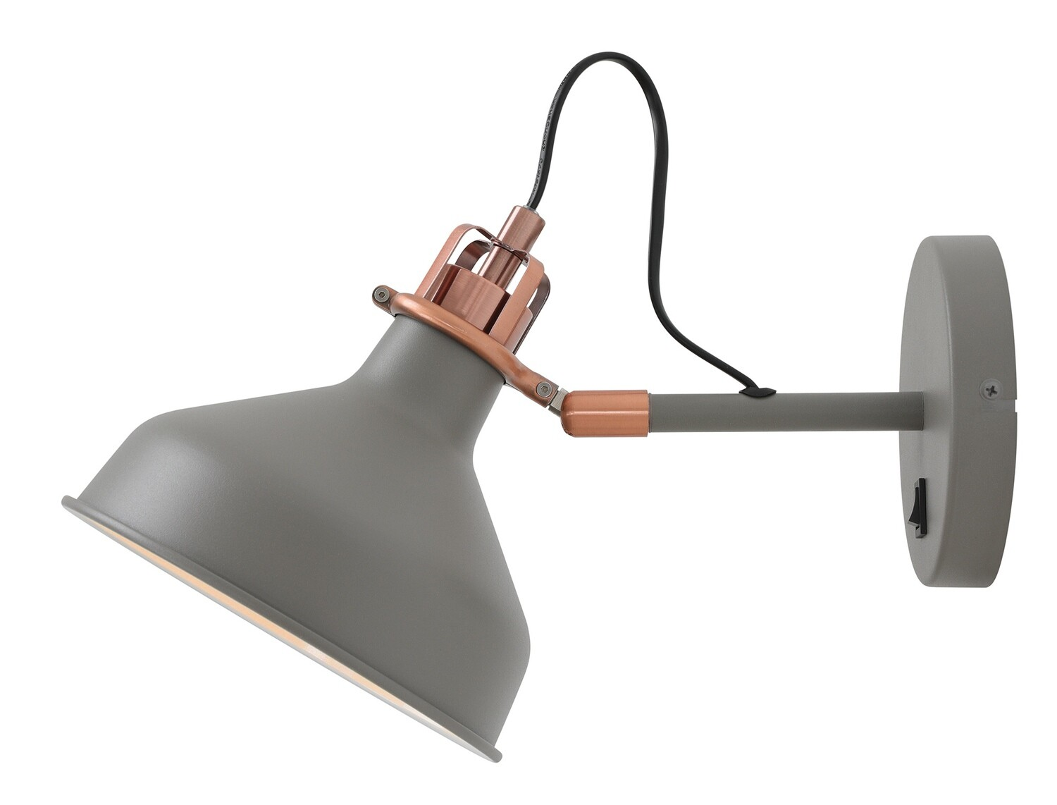 Lumina Adjustable Wall Lamp Switched, 1 x E27, Sand Grey/Copper/White