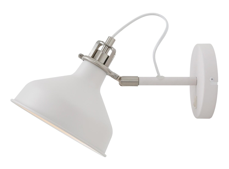 Lumina Adjustable Wall Lamp Switched, 1 x E27, Sand White/Satin Nickel/White