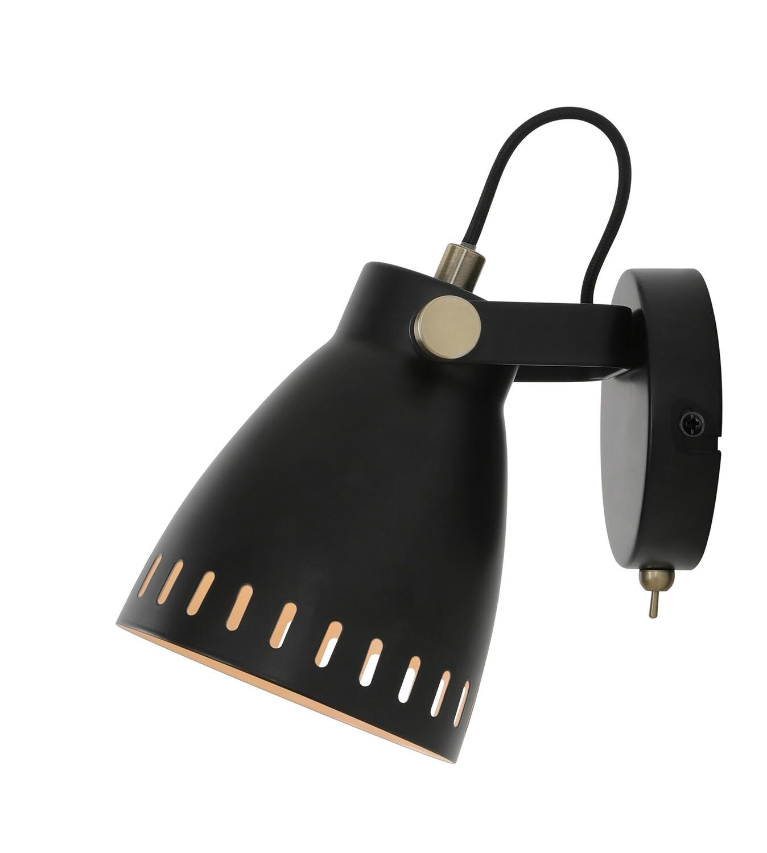 Sheena Adjustable Wall Lamp, 1 x E27, Matt Black/Antique Brass/Khaki
