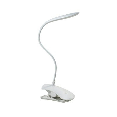 Reading Touch Dimmable / Rechargeable / Adjustable Table Lamp 2.5W LED 5000K,120lm,White Clip On