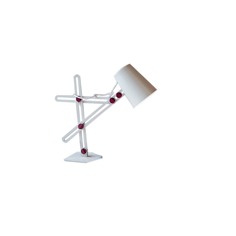 Looker Table Lamp 1 Light E27, Matt White/Purple