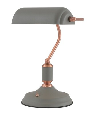 Lumina Table Lamp 1 Light With Toggle Switch, Sand Grey/Copper