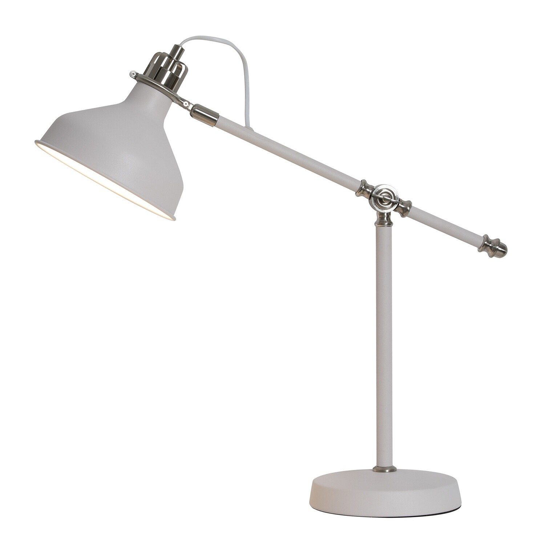 Lumina Adjustable Table Lamp, 1 x E27, Sand White/Satin Nickel/White