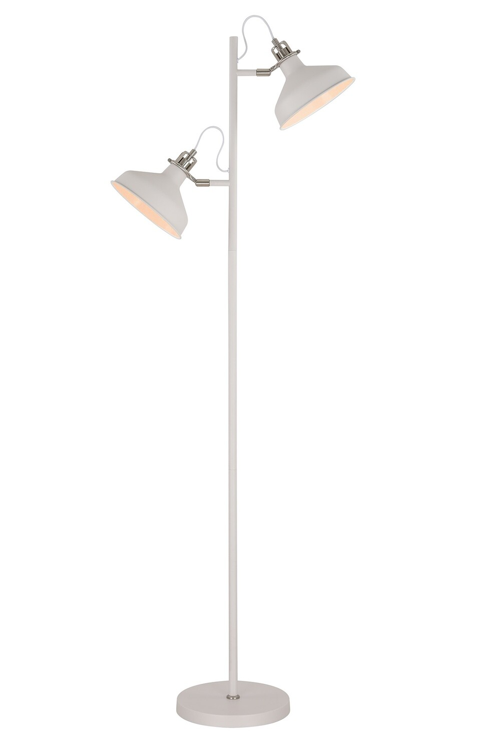Lumina Floor Lamp, 2 x E27, Sand White/Satin Nickel/White