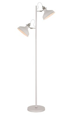Lumina Floor Lamp, 2 x E27, Sand White/Satin Nickel/White