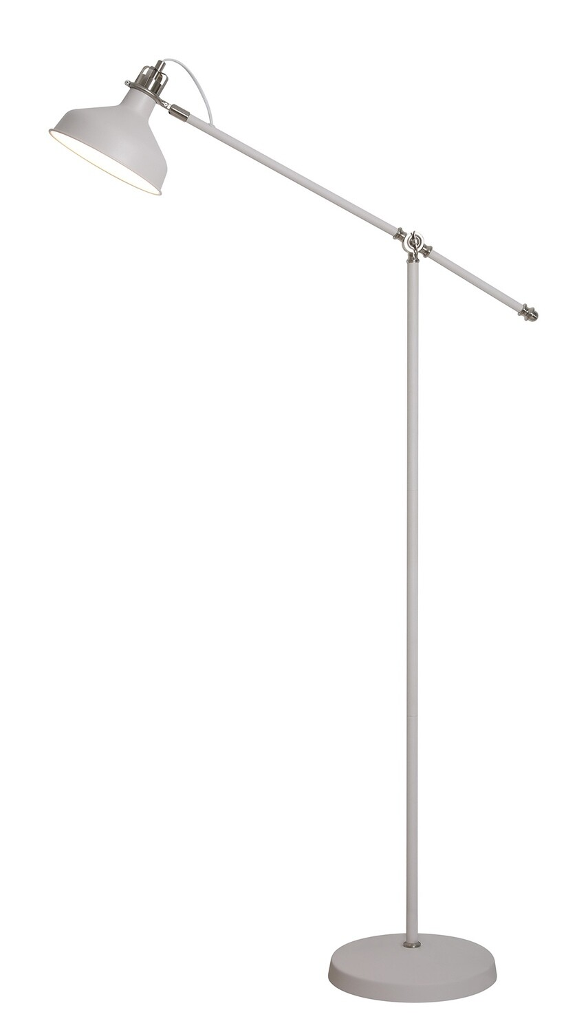 Lumina Floor Lamp, 1 x E27, Sand White/Satin Nickel/White
