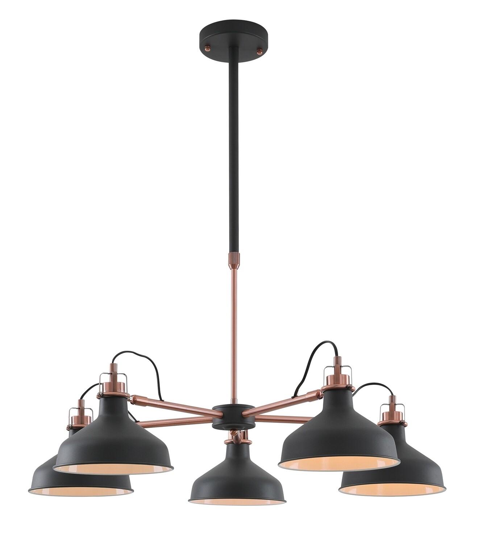 Lumina Telescopic 5 Light, 5 x E27, Sand Black/Copper/White