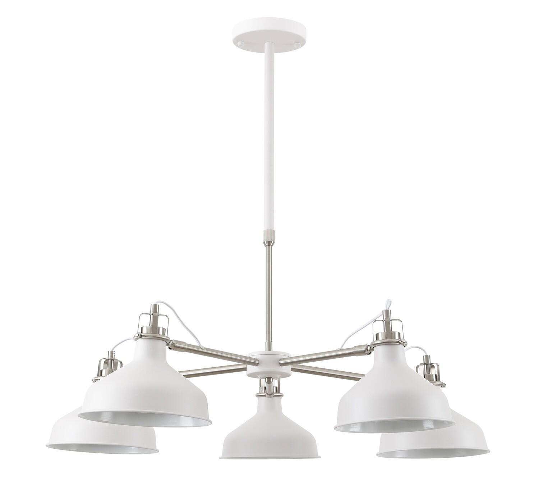 Lumina Telescopic 5 Light, 5 x E27, Sand White/Satin Nickel/White