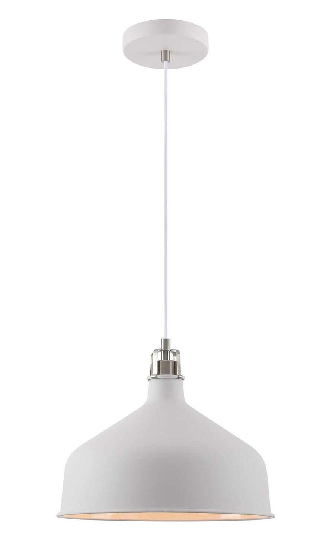 Lumina Medium Pendant, 1 x E27, Sand White/Satin Nickel/White