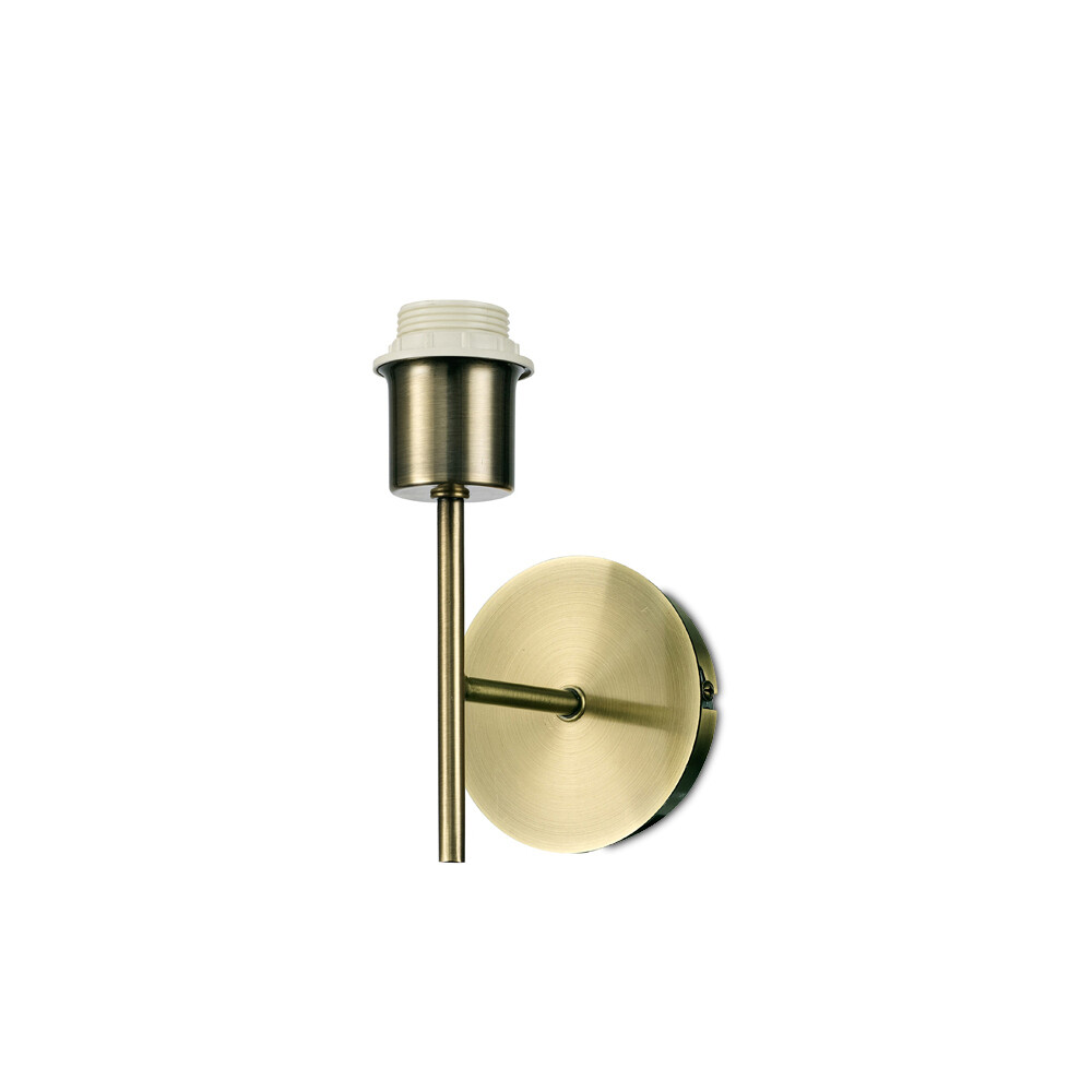 Carlton 1 Light Unswitched Wall Lamp  (shade to be selected), E27 Antique Brass