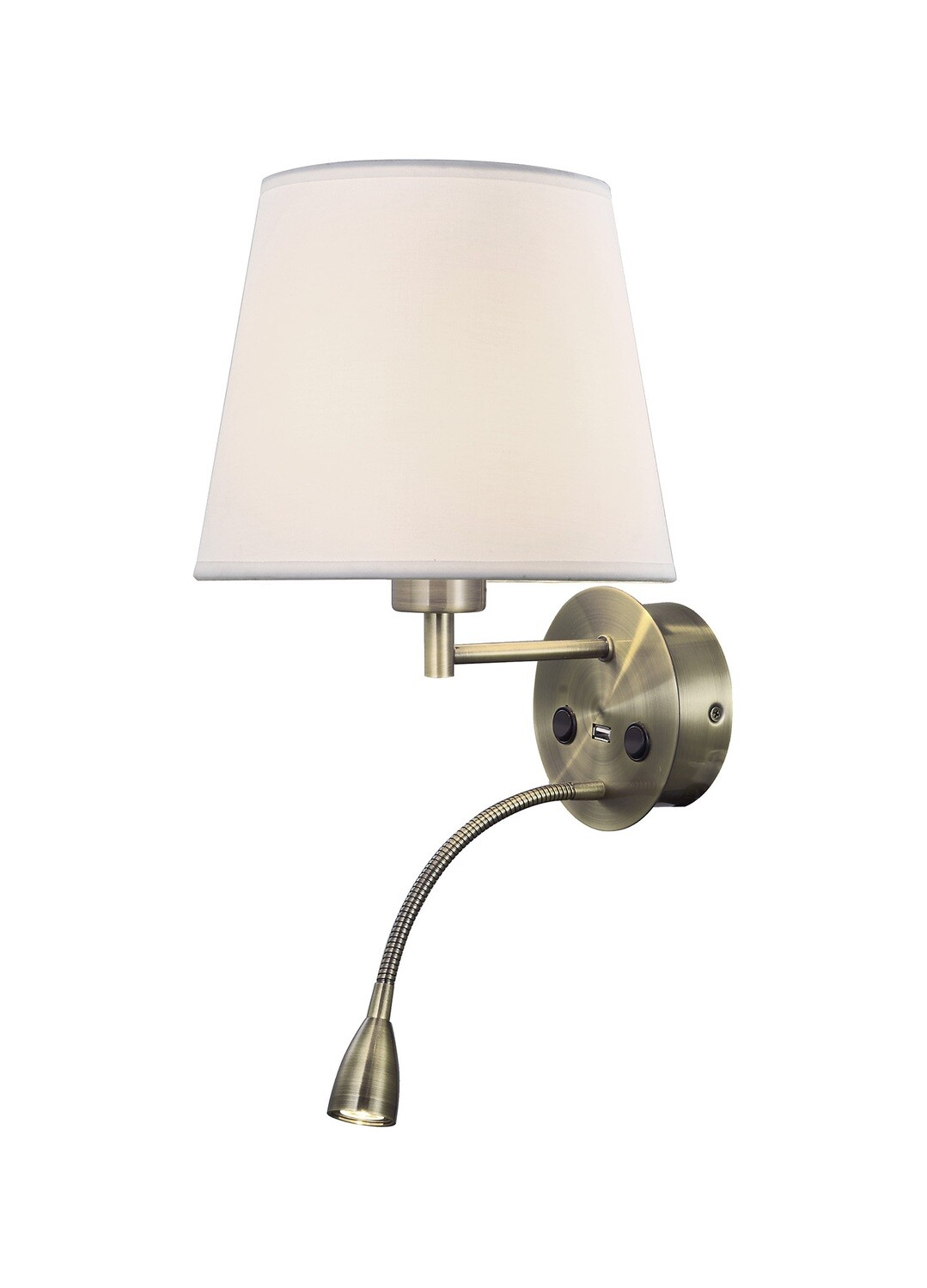 Caicos Wall + Reading Light with USB Charger, 1 x E27 + 3W LED, 3000K, 210lm LED, Individually Switched, Antique Brass