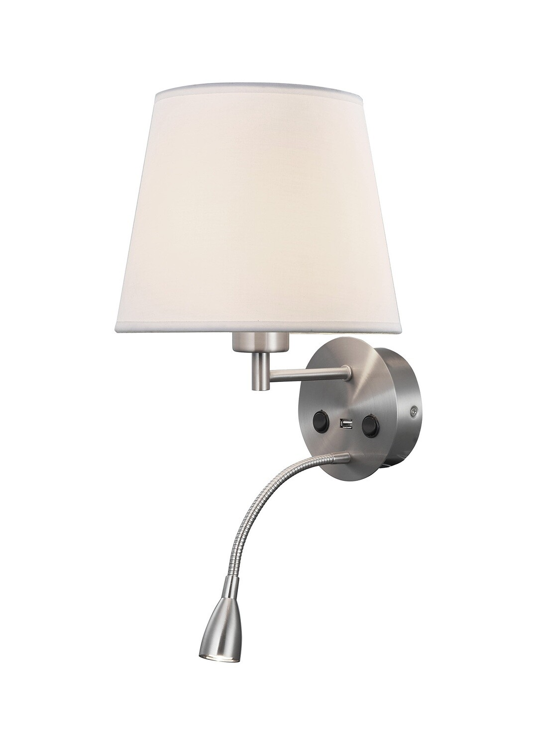 Caicos Wall + Reading Light with USB Charger, 1 x E27 + 3W LED, 3000K, 210lm LED, Individually Switched, Satin Nickel