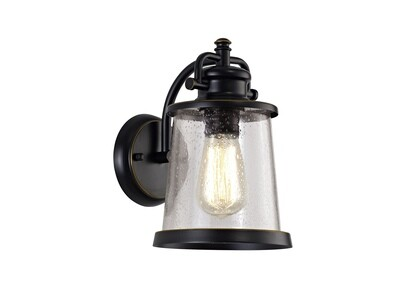 Farola Wall Lamp, 1 x E27, Black/Gold With Seeded Clear Glass, IP54