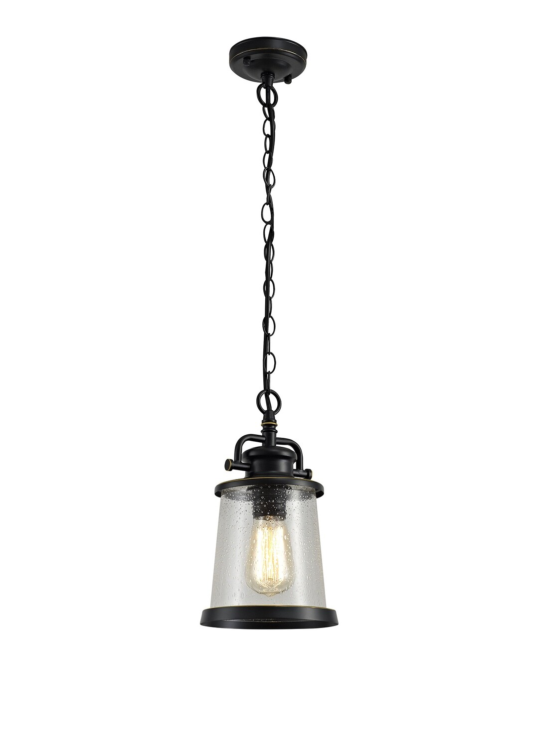 Farola Pendant, 1 x E27, Black/Gold With Seeded Clear Glass, IP54
