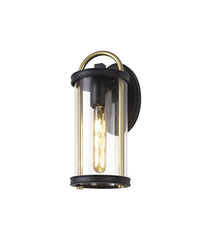 Guzel Small Wall Lamp, 1 x E27, Black & Gold/Clear Glass, IP54