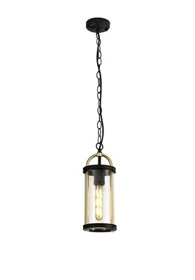 Guzel Pendant, 1 x E27, Black & Gold/Clear Glass, IP54
