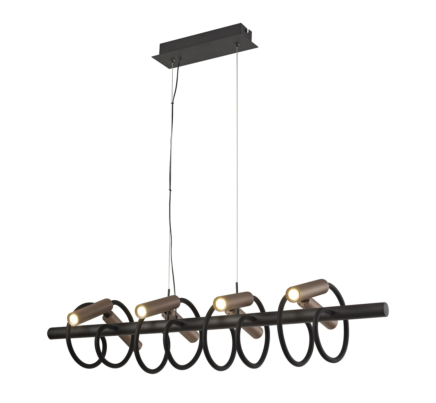 Stanie Linear Pendant, 8 Light Adjustable Arms, 8 x 4W LED Dimmable, 3000K, 2000lm, Black/Satin Copper