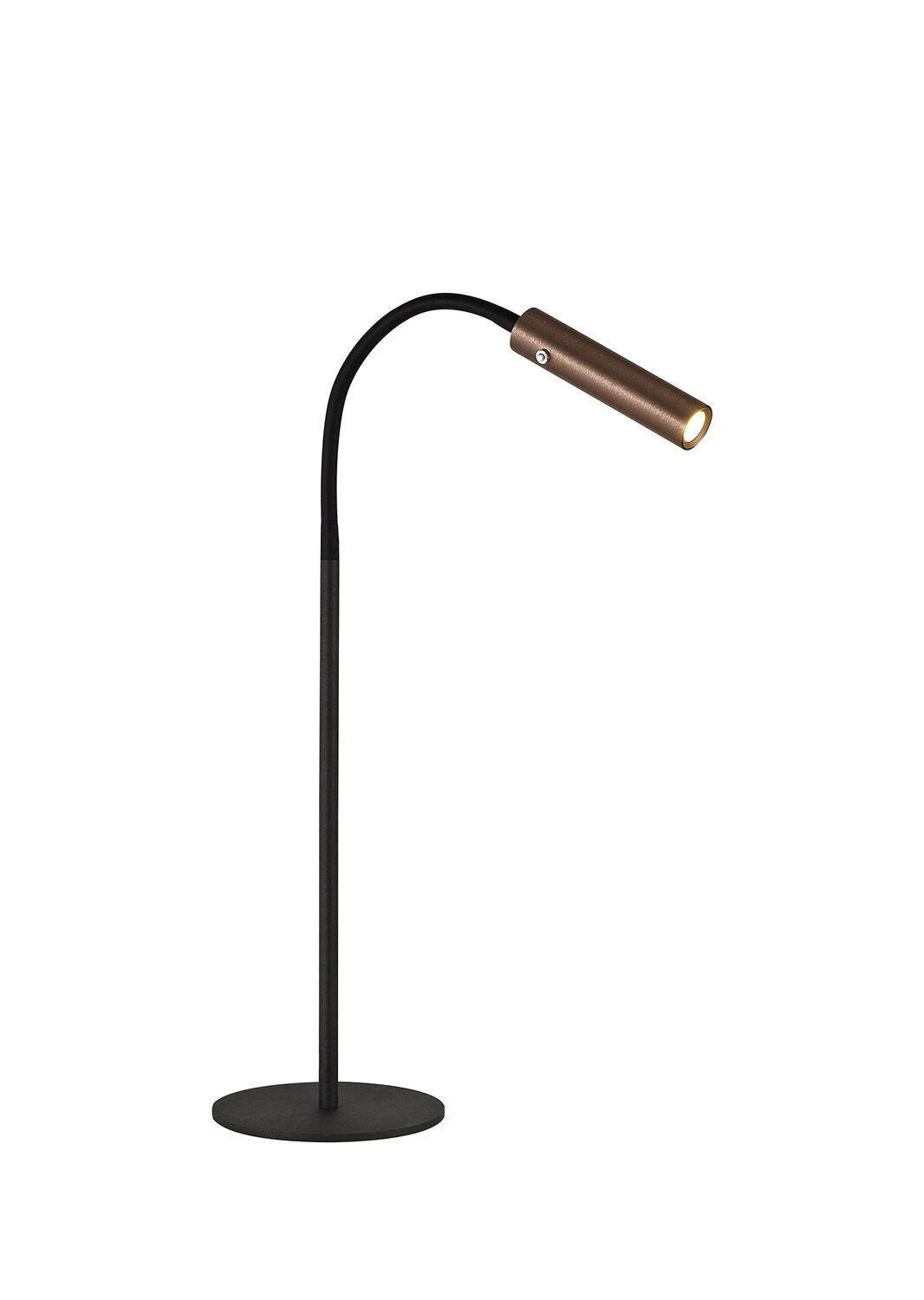 Stanie Table Lamp, 1 Light Adjustable Switched, 1 x 7W LED, 3000K, 436lm, Black/Satin Copper
