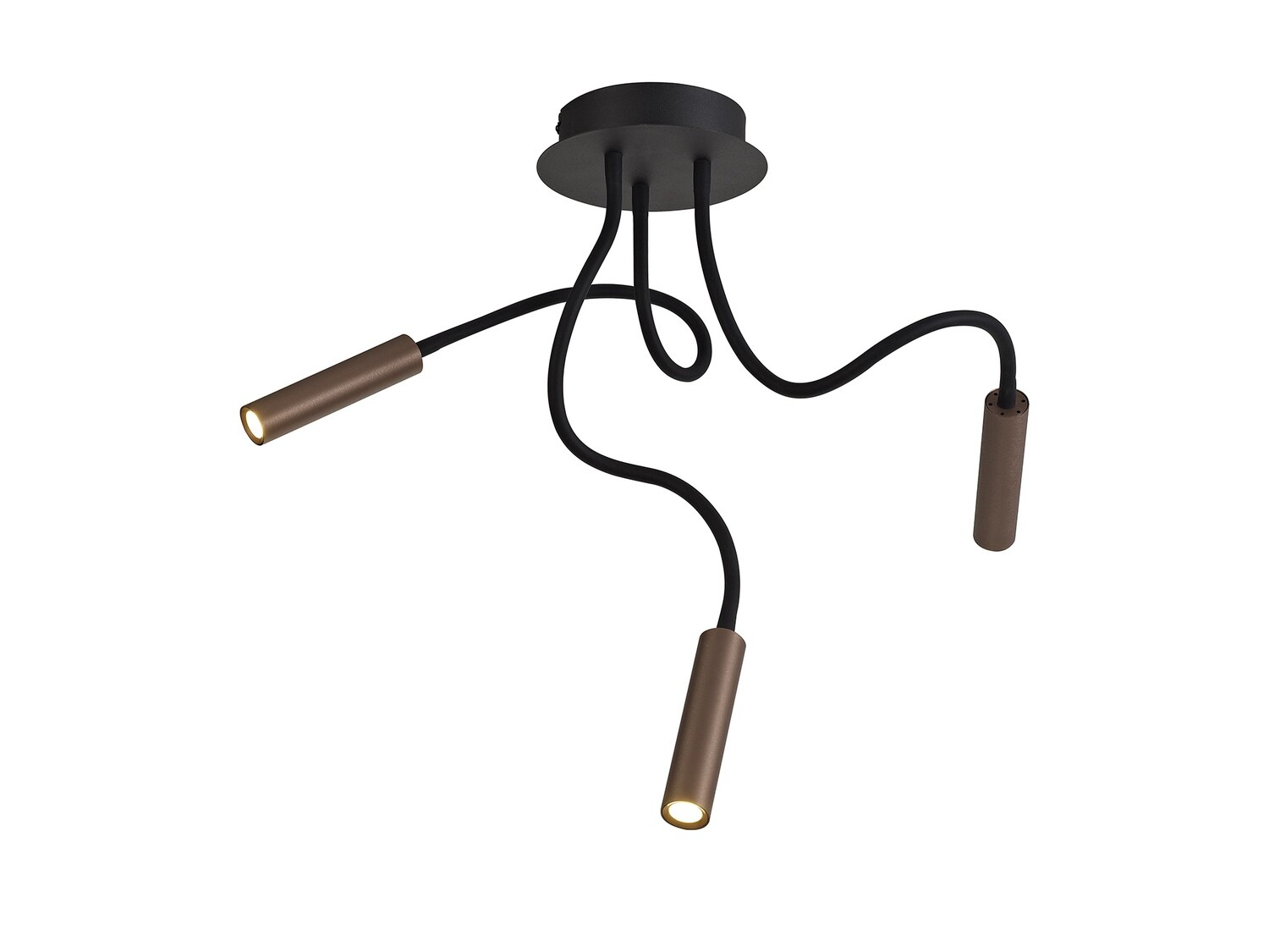 Stanie Ceiling, 3 Light Adjustable Arms, 3 x 5W LED Dimmable, 3000K, 930lm, Black/Satin Copper