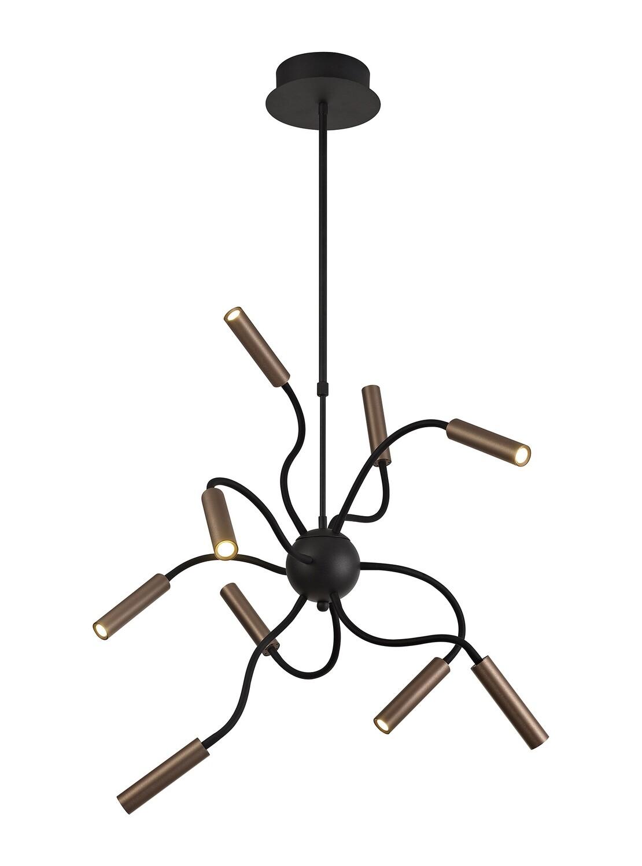 Stanie Sputnik Pendant, 9 Light Adjustable Arms, 9 x 4W LED Dimmable, 3000K, 2250lm, Black/Satin Copper