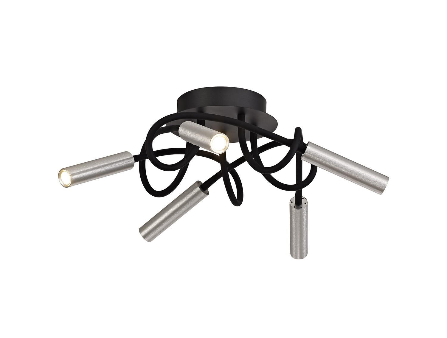 Stanie Ceiling, 5 Light Adjustable Arms, 5 x 5W LED Dimmable, 3000K, 1550lm, Black/Aluminium