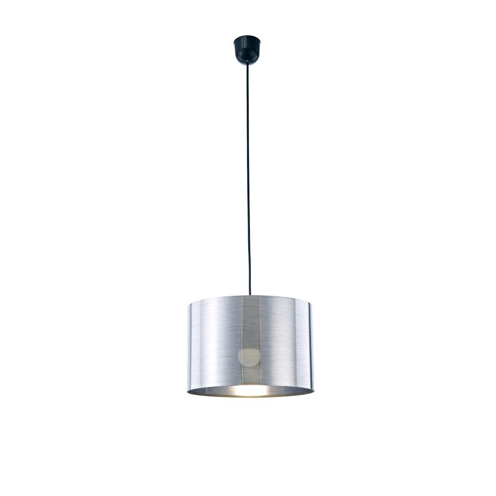 Dako Pendant 1 Light E27 With 300 x 200mm Cylinder Shade, c/w Ceiling Bracket Metallic Chrome