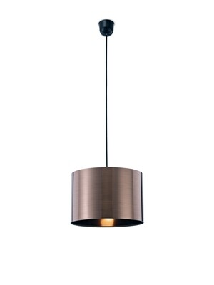 Dako Pendant 1 Light E27 With 300 x 200mm Cylinder Shade, c/w Ceiling Bracket Metallic Bronze