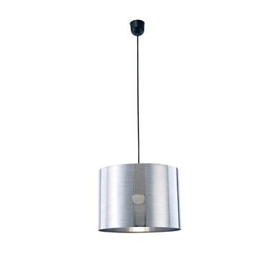 Dako Pendant 1 Light E27 With 350 x 250mm  Cylinder Shade, c/w Ceiling Bracket Metallic Chrome