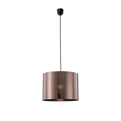 Dako Pendant 1 Light E27 With 350 x 250mm  Cylinder Shade, c/w Ceiling Bracket Metallic Bronze
