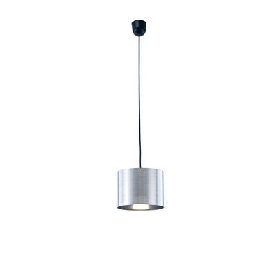 Dako Pendant 1 Light E27 With 200 x 150mm Cylinder Shade, c/w Ceiling Bracket Metallic Chrome