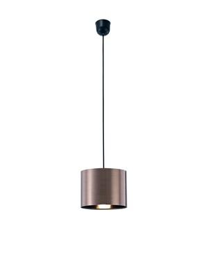 Dako Pendant 1 Light E27 With 200 x 150mm Cylinder Shade, c/w Ceiling Bracket Metallic Bronze