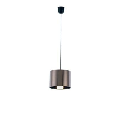 Dako Pendant 1 Light E27 With 200 x 150mm Cylinder Shade, c/w Ceiling Bracket Metallic Gun Metal