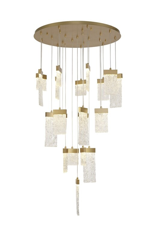 Alison Pendant Round 5M, 21 x 4.5W LED, 3000K, 3360lm, Painted Brushed Gold