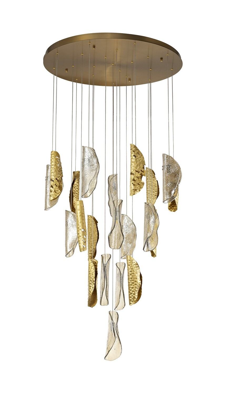 Callisto Pendant 5M, 21 x G9, Brass/Copper & Cognac Glass