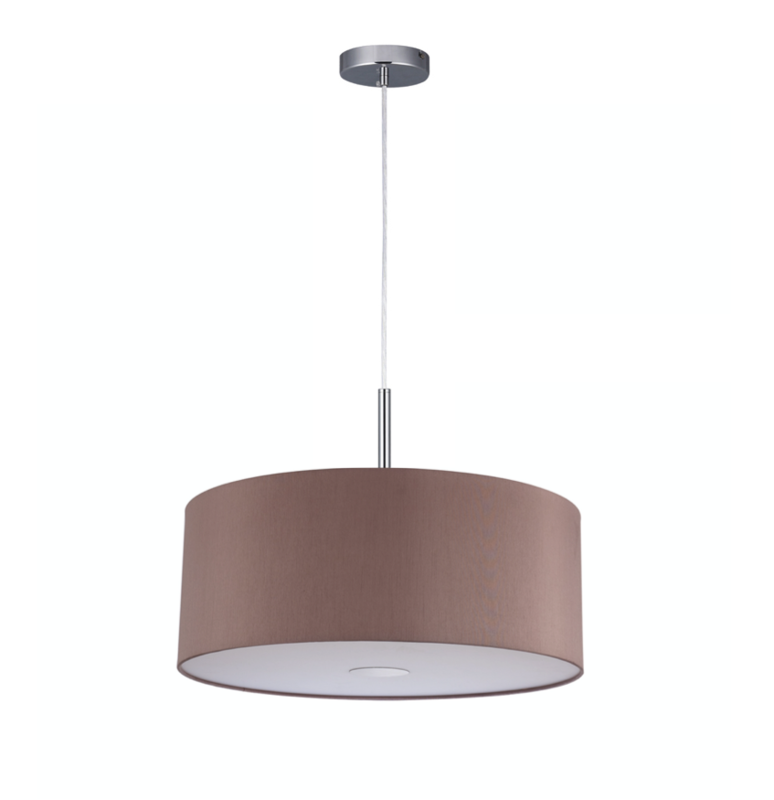 Baymont Satin Nickel 1 Light E27 3m Single Pendant with Taupe Shade and frosted diffusor Ø300