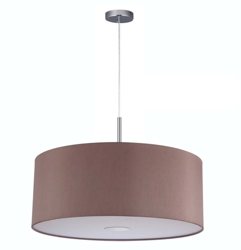Baymont Satin Nickel 1 Light E27 3m Single Pendant with Taupe Shade and frosted diffusor Ø500