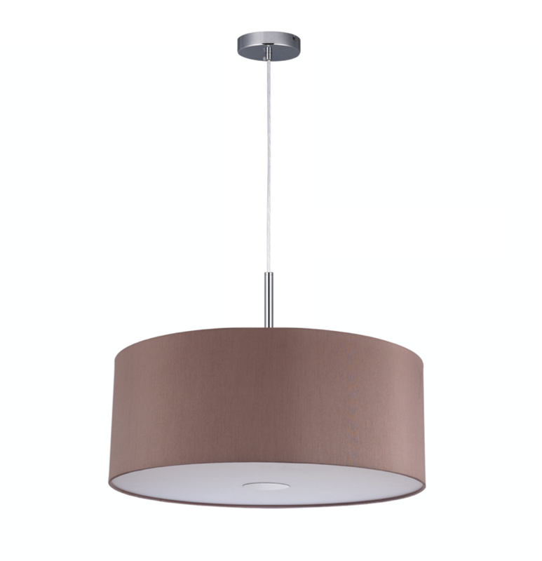 Baymont Satin Nickel 1 Light E27 3m Single Pendant with Taupe Shade and frosted diffusor Ø400