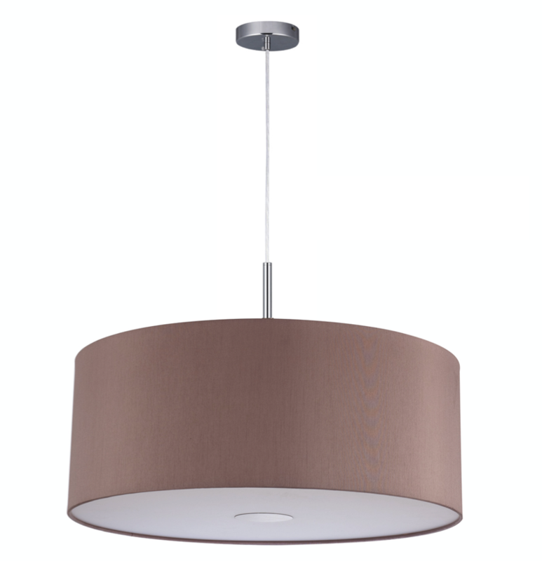 Baymont Satin Nickel 1 Light E27 3m Single Pendant with Taupe Shade and frosted diffusor Ø600
