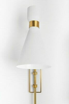 WILLA Wall Sconce 1xE27 aged Brass/ soft off White