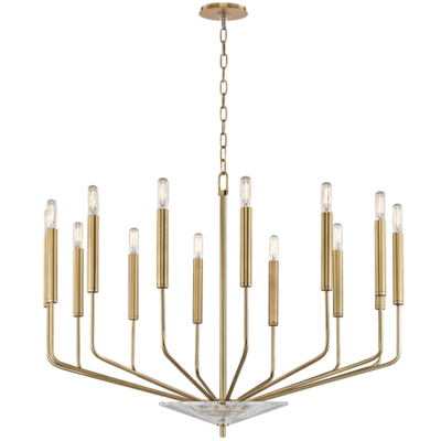 Gideon by Hudson Valley 14 Light Chandelier Aged Brass