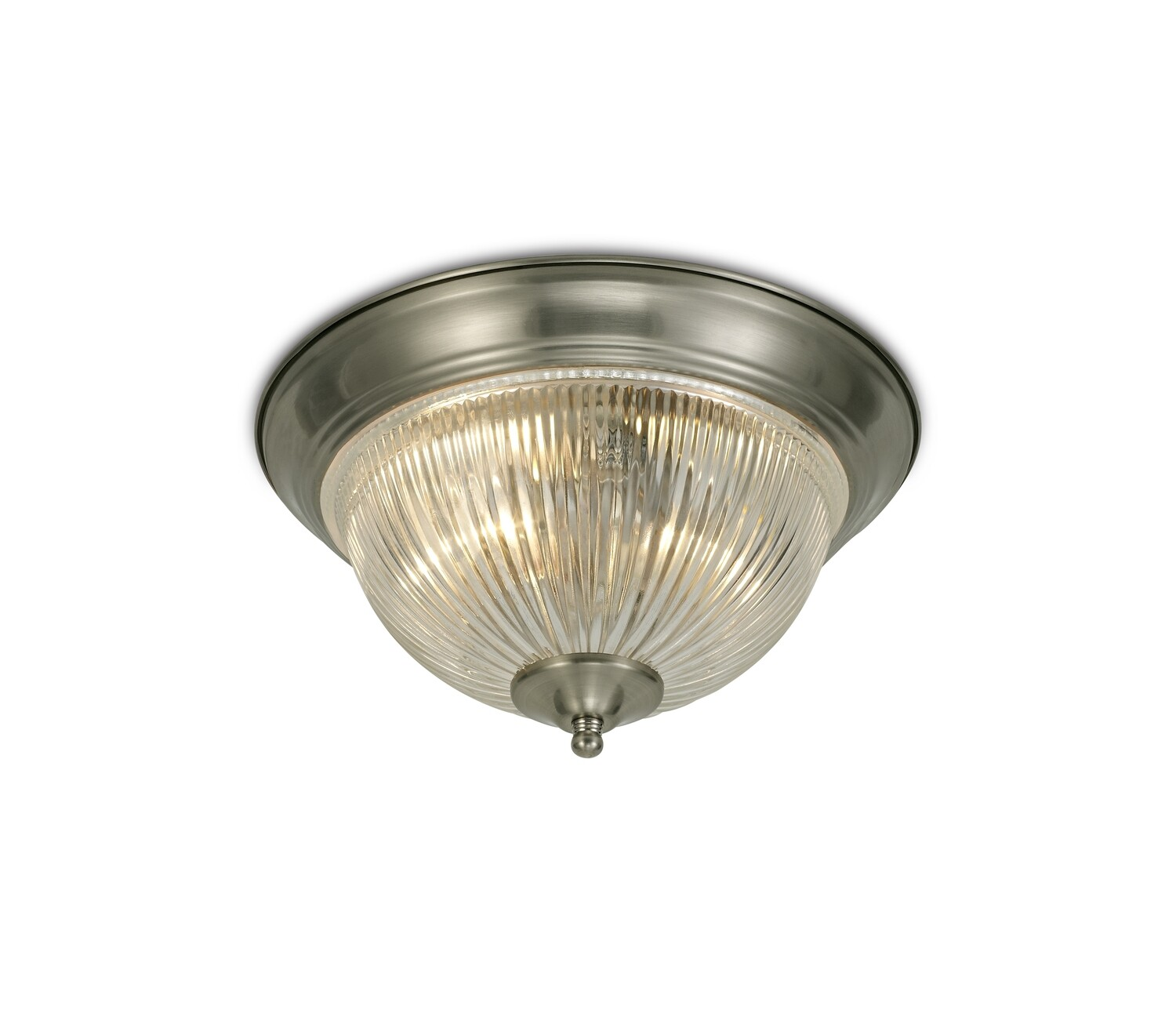 Macy IP44 2 Light E14 Flush Ceiling Light Satin Nickel With Clear Ribbed Glass