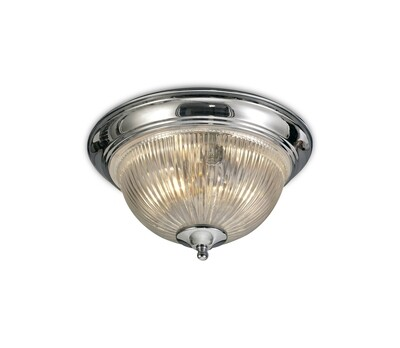 Macy IP44 2 Light E14 Flush Ceiling Light Polished Chrome With Clear Ribbed Glass