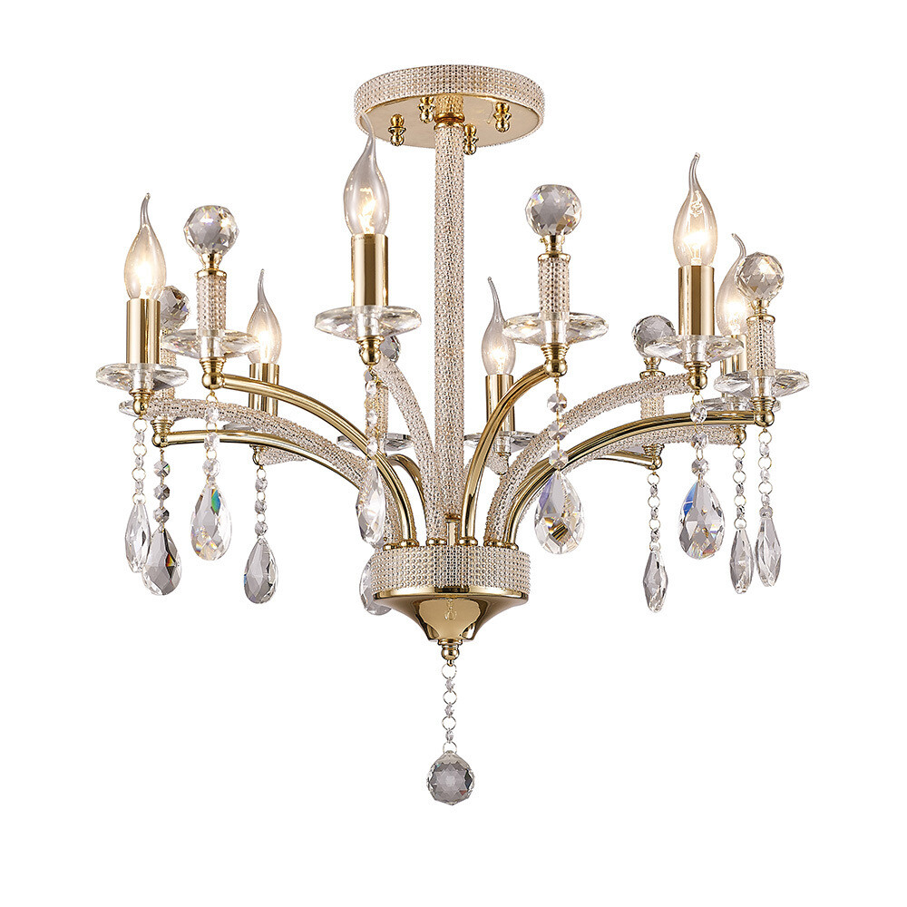 Fiore Ceiling Luminaire 6 Light French Gold/Crystal