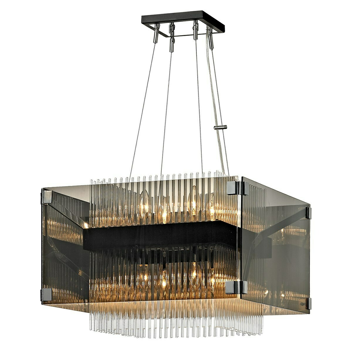 Apollo S 8xE14 Chandelier dark bronze/polished chrome