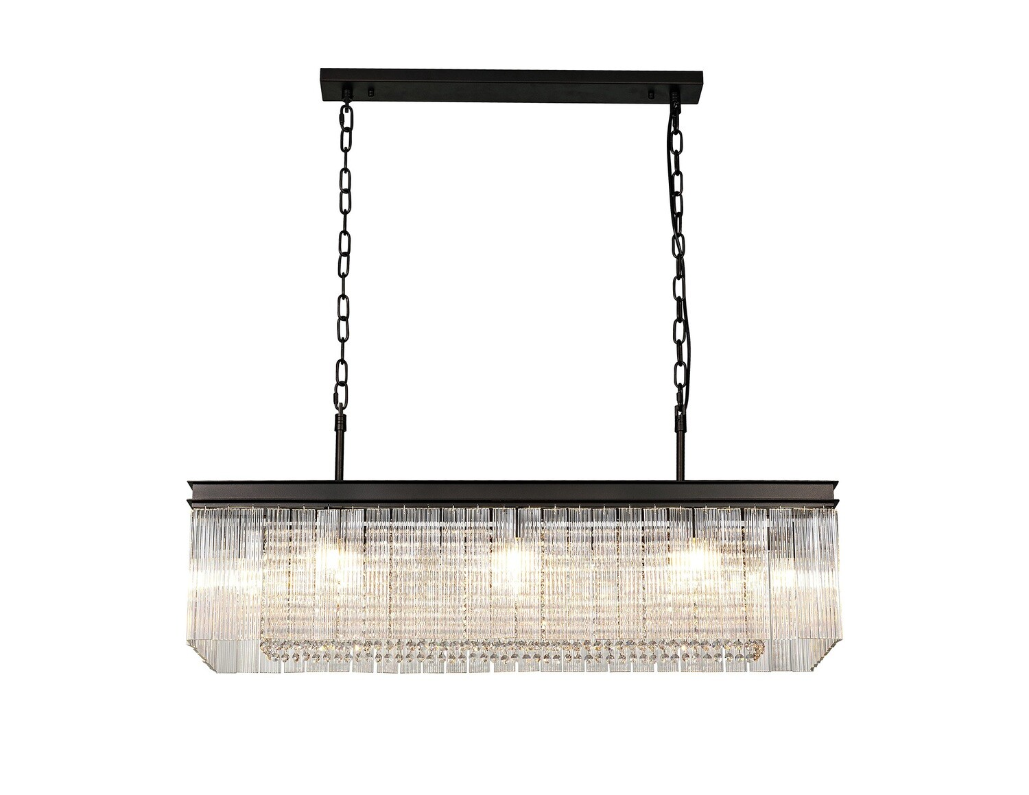 Amy Rectangular Pendant, 11 Light E14, Brown Oxide