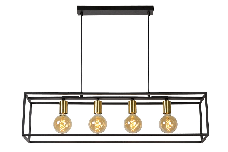 RUBEN Pendant 4x E27 Black/Matt-Gold Brass