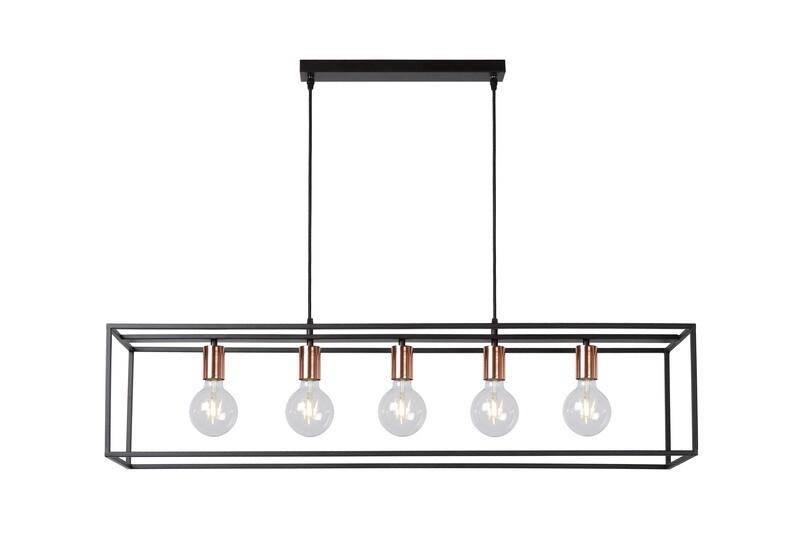 ARTHUR Pendant 5xE27 Black/Copper