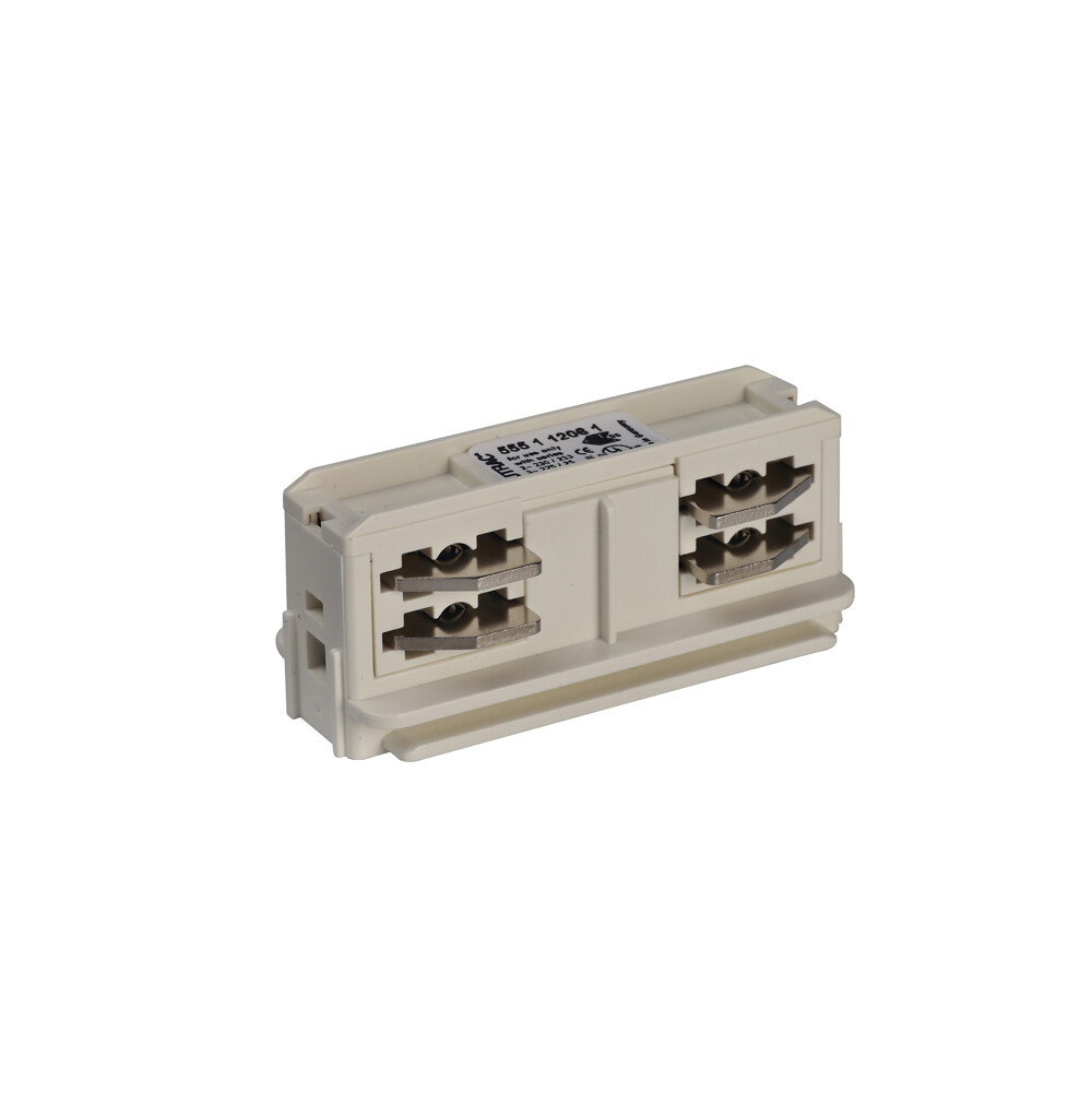 Electrical straight coupler for IGLUX 3 phase 5-wire rail WHITE