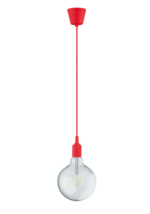 DREIFA RED silicone lampholder with filament Globe D125 8W 2700K