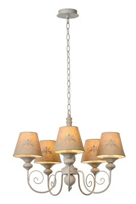 ROBIN Chandelier 5xE14 Shade Linen/Taupe